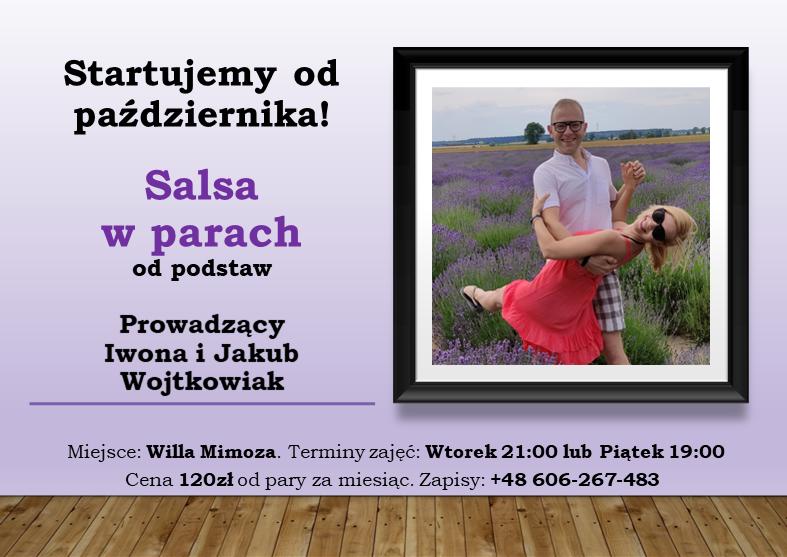 Plakat reklamujący zajęcia salsy w parach. Na zdjęciu para zastygła w tanecznej pozie