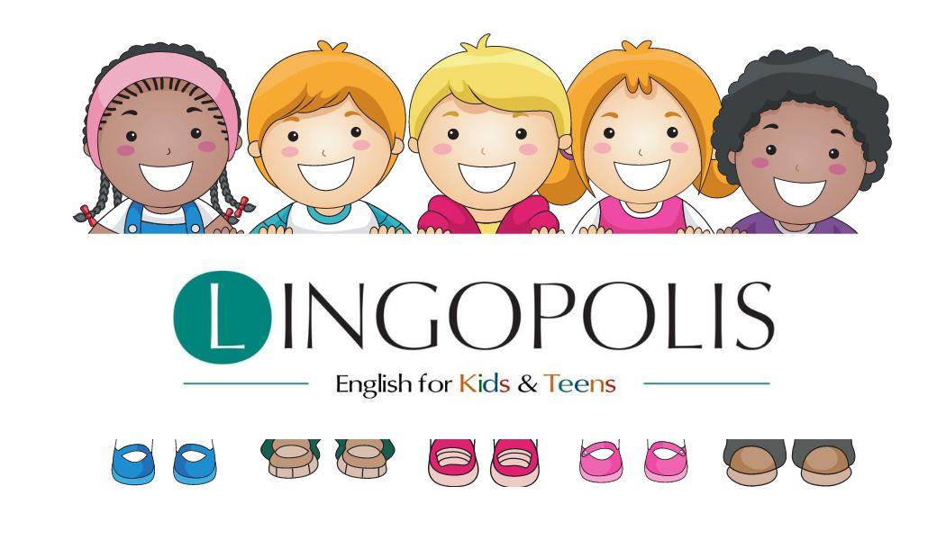 Grafika reklamująca zajęcia z języka angielskiego prowadzonego przez firmę Lingopolis, przedstawia grupę różnych dzieci, chłopców, dziewczynek, uśmiechniętych i zadowolnoych