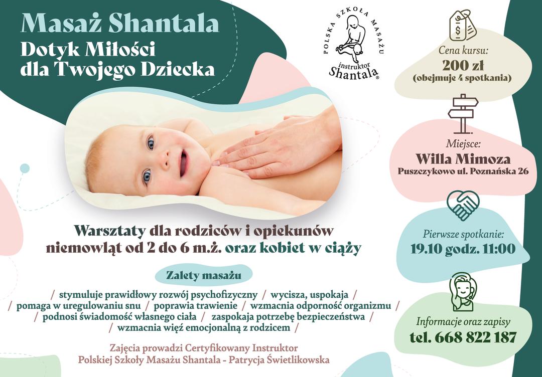 Plakat reklamujący zajęcia dla rodziców z masażu Shantala, grafika przedstawia niemowlę masowane przez opiekuna.