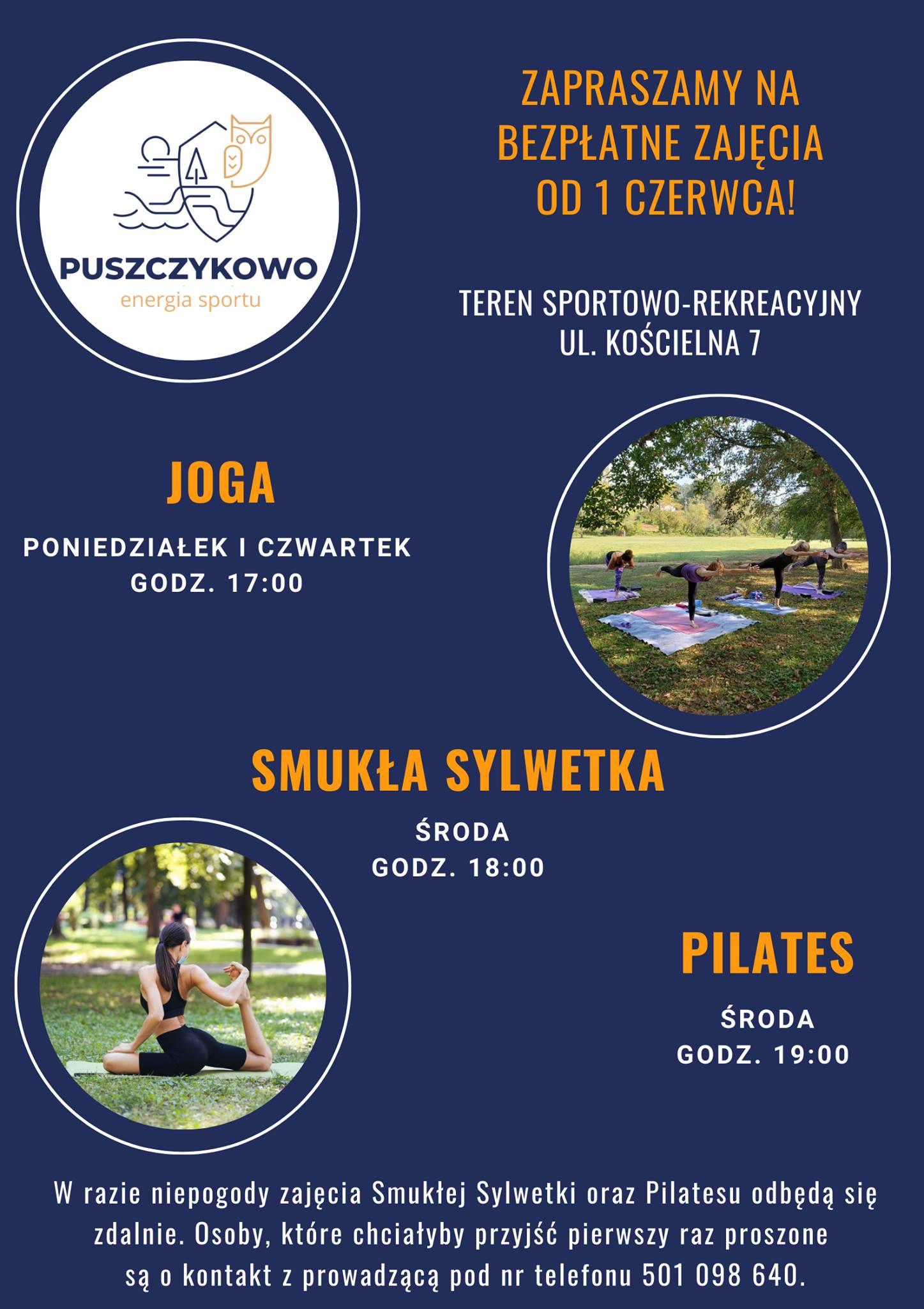 Plakat przedstawia logo miasta Puszczykowa - graficzne przedstawienie puszczyka, zdjęcia osób ćwiczących jogę i pilates w otwartej przestrzeni, na łące, w lesie.
