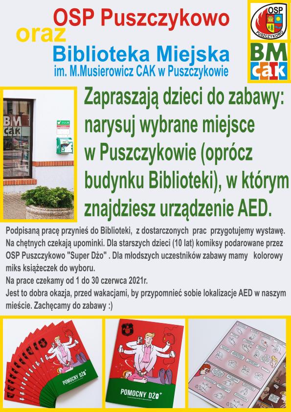 Plakat przedstawia zdjęcie biblioteki z urządzeniem AED, zdjęcia komiksu będącego nagrodą: