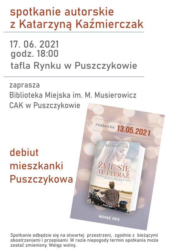 Na plakacie znajduje się okładka książki autorki - na niej jest kobieta blondynka oraz mężczyzna na motorze.