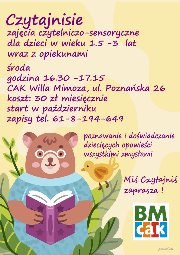 Plakat reklamujące zajęcia dla dzieci Czutajnisie. Pluszowy miś czyta książkę pluszowej kaczce, otaczają ich bajkowe rośliny.