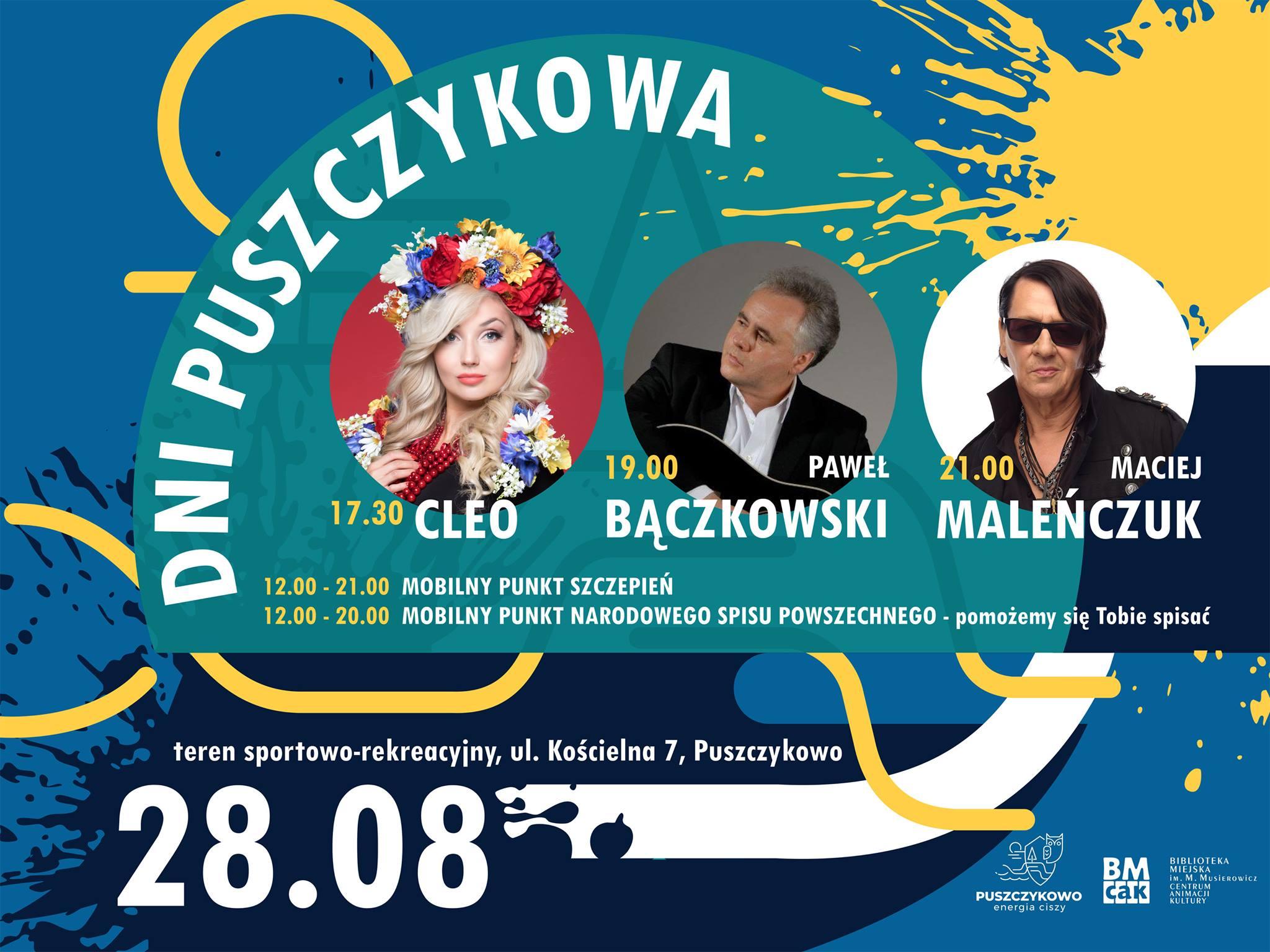 Plakat promujący Dni Puszczykowa. Na abstrakcyjnym tle znajduje się napis - dni Puszczykowa oraz fotografie występujących artystów.