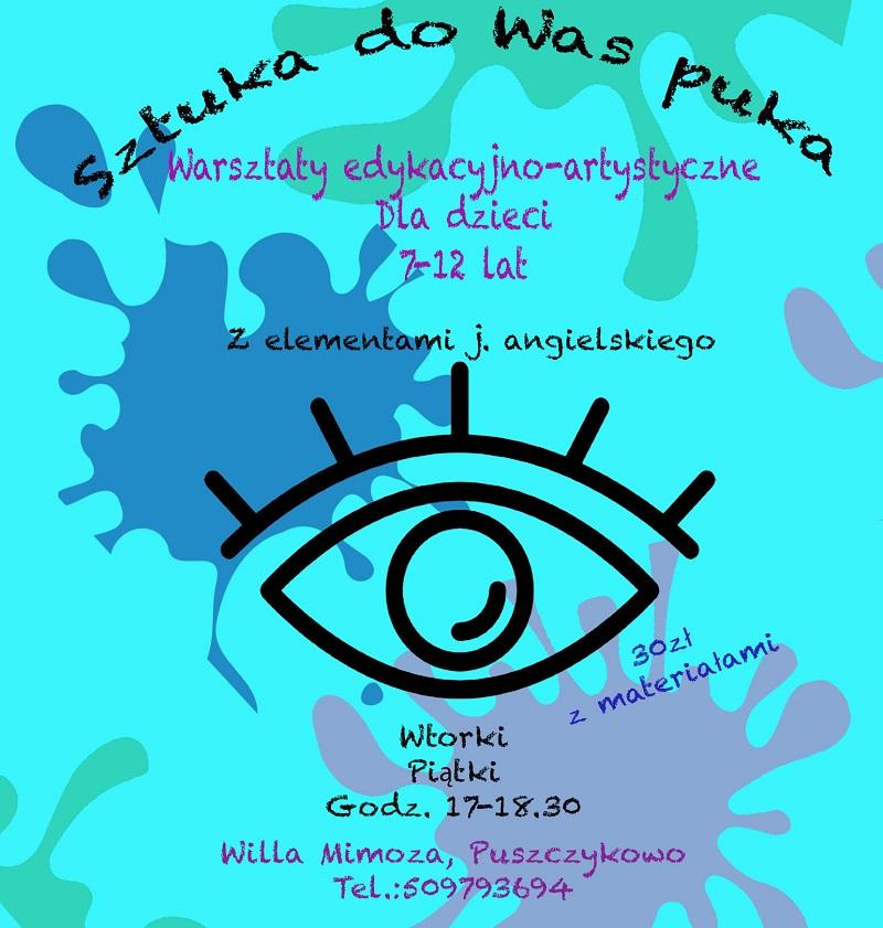 Plakat reklamujący zajęcia plastyczne. Grafika przedstawia symboliczne przedstawienie oka na abstrakcyjnym tle.