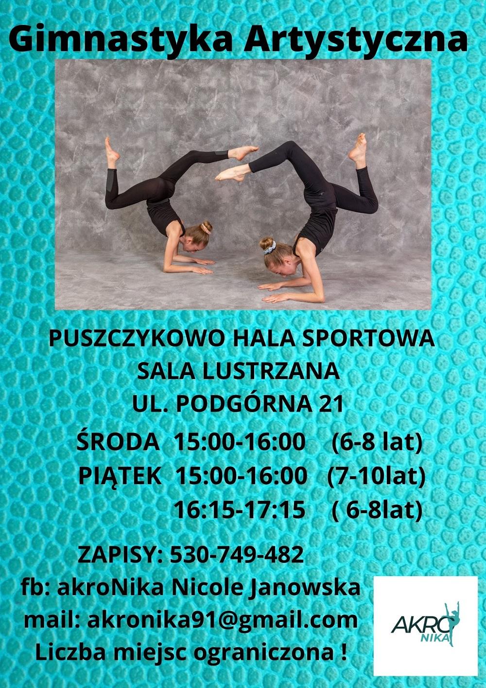 Plakat reklamujący zajęcia z gimnastyki artystycznej. Na grafice widać dwie dziewczynki wykonujące gimnastyczną figurę.