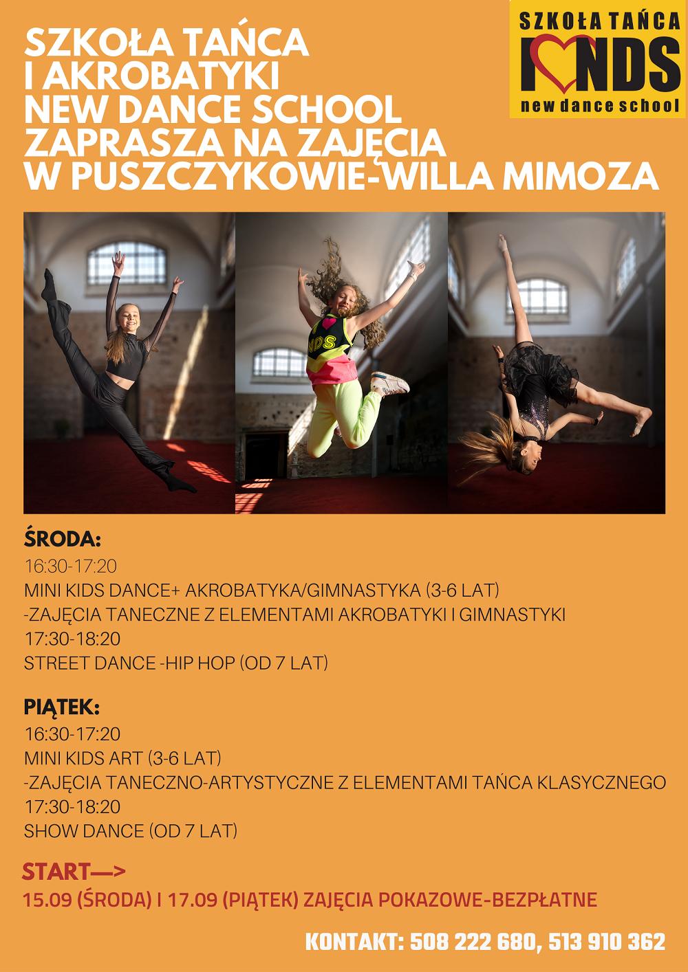 Plakat reklamujący zajęcia taneczne dla dzieci.