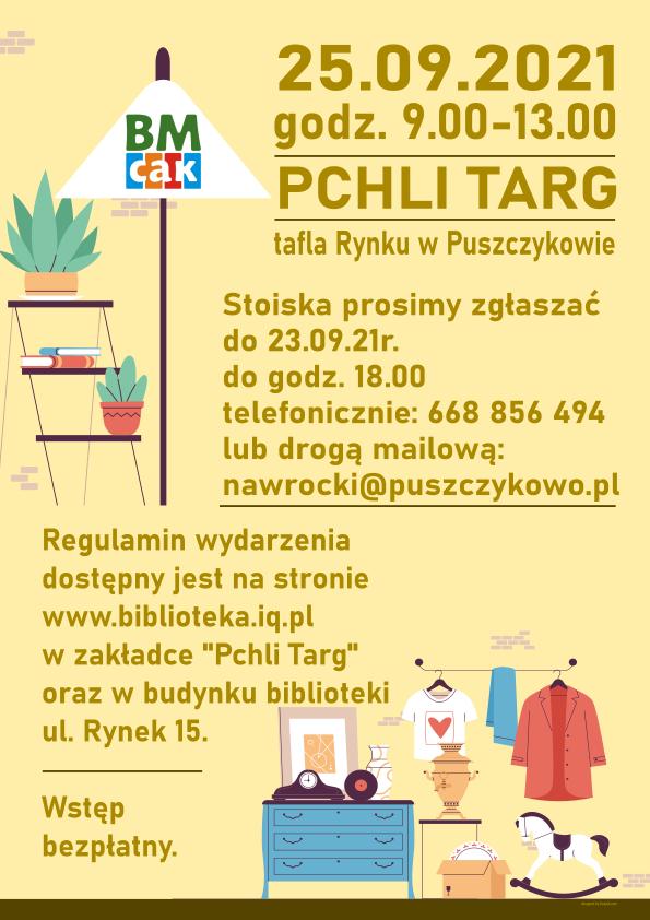 Plakat promujący pchli targ. Grafika jest symbolicznym przedstawieniem stoiska na Pchlim Targu - stara lampa, komoda z rzeczami.