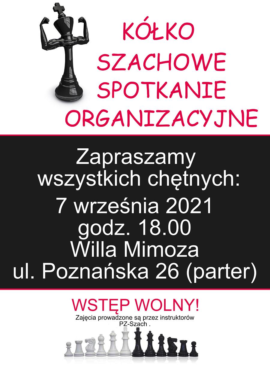 Plakat reklamujący zajęcia szachowe - grafika pionek prężący swoje muskuły.
