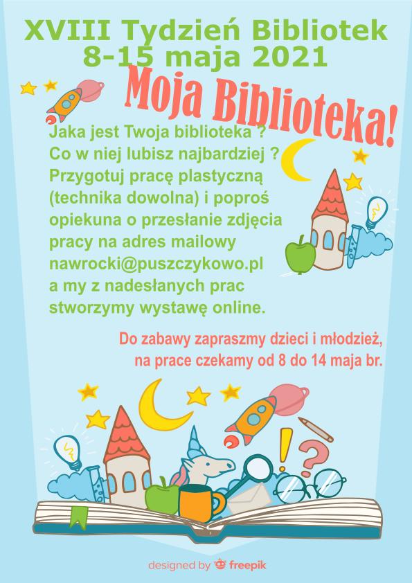 Grafika na plakacie przedstawia otwartą książkę, z której wyłania się zamek, księżyc, jabłko, kubek, jednorożec, symbolizujące siłę wyobraźni zamkniętą w książce.